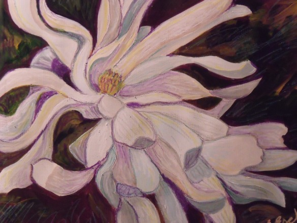 """Lily Magnolia"", acrylic and oil pastel painting, by Eliza Ayres, 2015"
