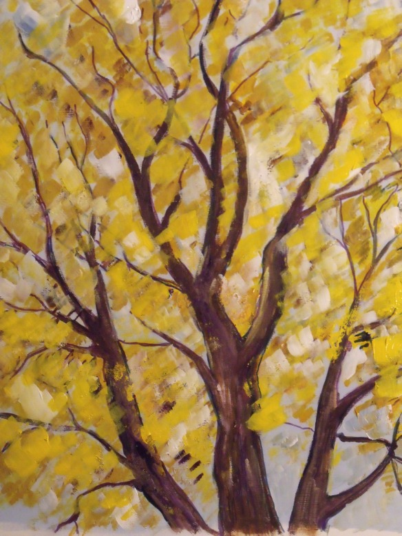 """Golden Ash"", acrylic and pen, 16"" x 20"" on canvas paper. From one of my photos taken at Pioneer Park."