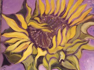 """Sunflower Dissolving into Violet"", Acrylics on stretched canvas"