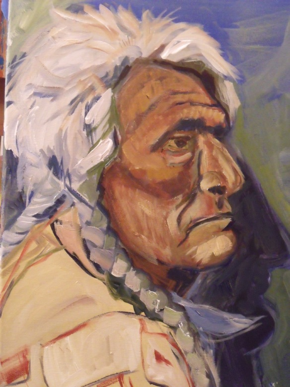 """Native Elder"", acrylic on canvas, Eliza Ayres, 2015."