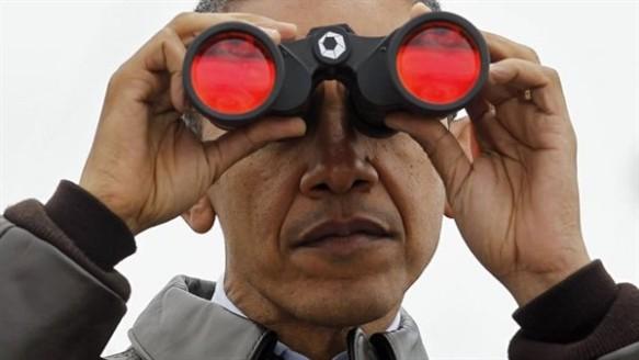 Obama spied with binoculars