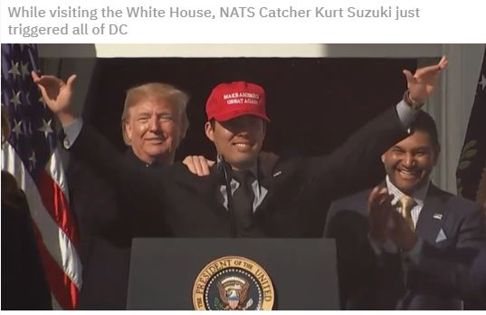 nats catcher in maga hat